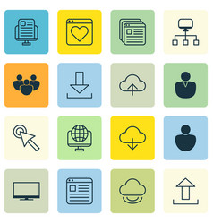Set of 16 web icons includes computer network vector