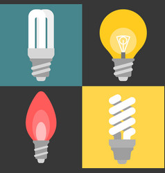 set of light bulb and fluorescent vector image vector image