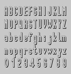 Shadow font design alphabet and number vector