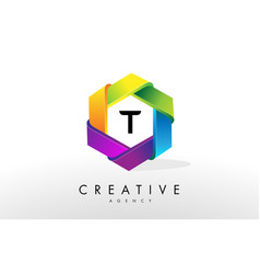 T letter logo corporate hexagon design vector