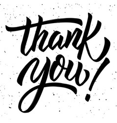 Thank you hand drawn lettering phrase isolated on vector