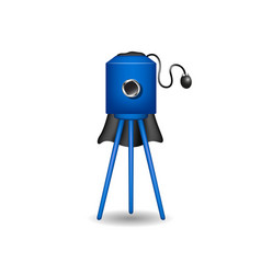Vintage camera in blue design with shadow vector