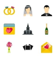 Wedding celebration icons set flat style vector