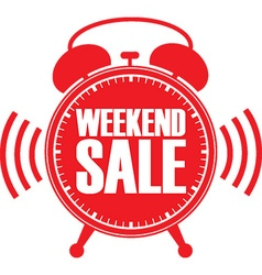 Weekend sale red alarm clock vector image vector image