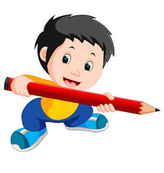 young boy holding a big pencil vector image vector image