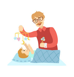 young father putting baby to sleep in bed vector image vector image