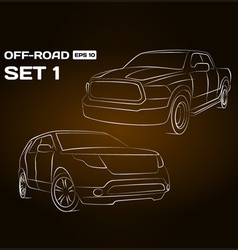 Off-road vehicle silhouettes vector