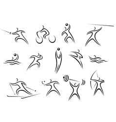 Set of sports symbols and pictograms vector