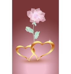 Gold jewelry hearts with rose vector image
