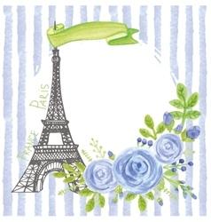 Paris vintage cardeiffel towerwatercolor blue vector