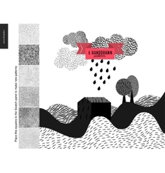 Handdrawn patterns with a landscape vector image