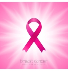 Breast cancer awareness month pink ribbon and vector