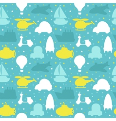 Seamless pattern with silhouette of transport cute vector