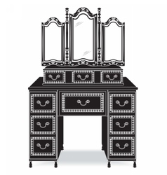 Vintage dressing table and mirror frame vector