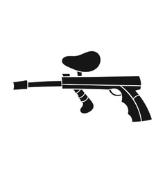 Paintball gun icon in black style isolated on vector image