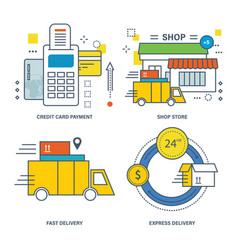 Credit card payment shop store express delivery vector