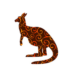 Kangaroo marsupial mammal color silhouette animal vector
