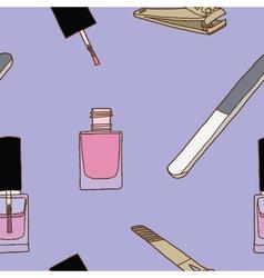 Seamless of nail care and polish vector