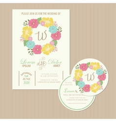 Set of wedding invitation cards vector