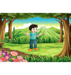 A lost young man in the middle of the forest vector