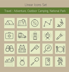 Adventure outdoor camping park line icons set vector