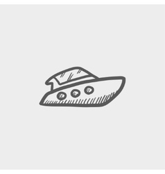Speedboat sketch icon vector