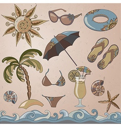 Summer holidays seaside beach icons set vector