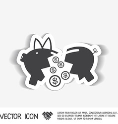 Broken piggy bank icon vector