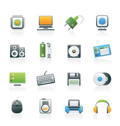 Computer items and accessories icons vector
