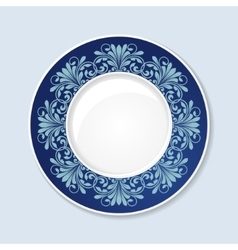 Decorative plate with floral ornament vector