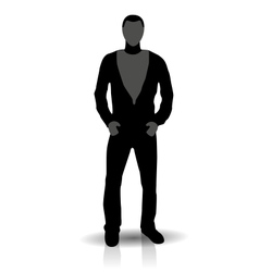 Silhouette of young man in jeans vector