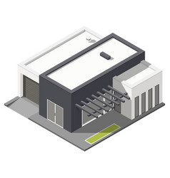 One-storey house with flat roof isometric icon set vector