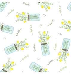 Seamless floral pattern with bouquet of daisies in vector image