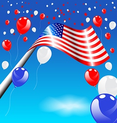 American Flag and balloons on blue sky vector image vector image