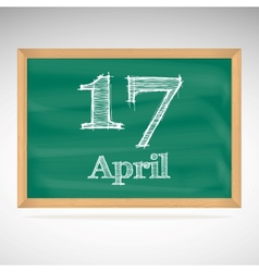 April 10 inscription in chalk on a blackboard vector