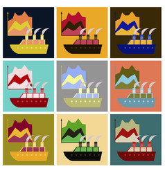 Assembly of flat icons cruise ship infographic vector