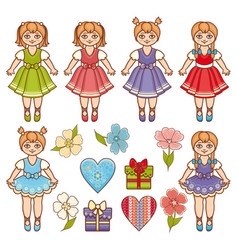 Baby doll colorful set vector