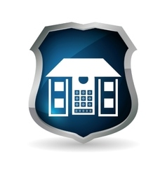 Blue home security control code button vector