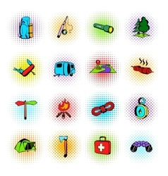 Camping comics icons vector