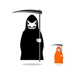 Cat death in black cloak and with scythe death in vector