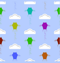 colored kites flying in blue sky with sun and vector image