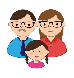 Colorful silhouette with family in half body vector