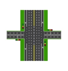 Crossroads with the help of traffic lights road vector