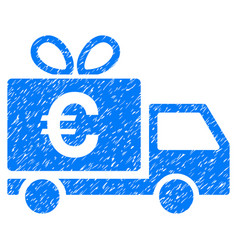 Euro gift delivery grunge icon vector