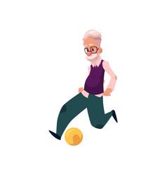 Flat grandfather playing football vector