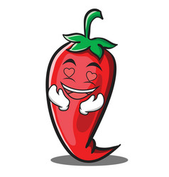 In love red chili character cartoon vector