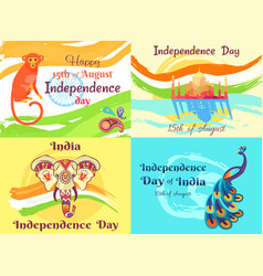 Independence day on 15th of august posters set vector