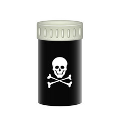 Medical container with danger sign skull symbol vector