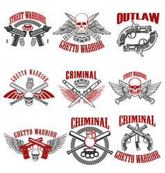 Outlaw criminal street warrior emblems design vector