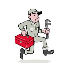 Plumber with monkey wrench and toolbox vector